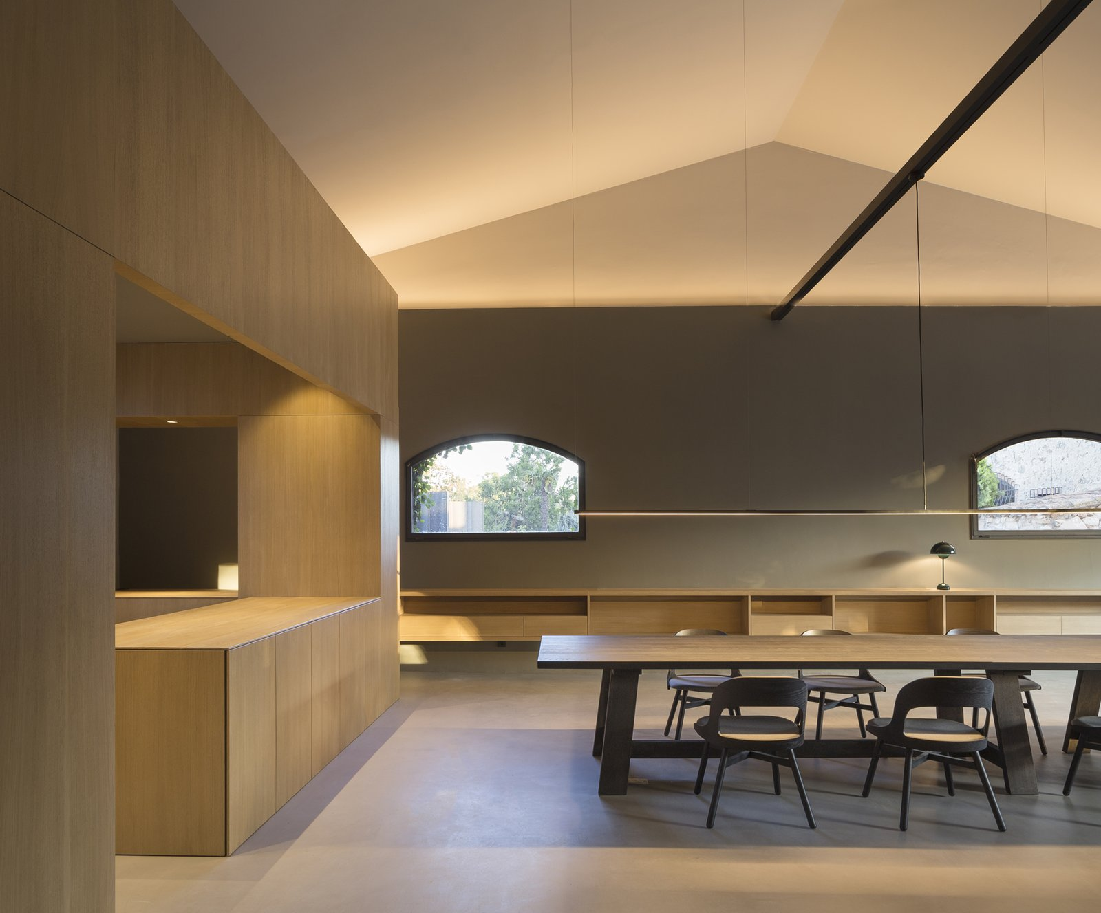 Dining, Table, Table, Shelves, Bar, and Concrete  Best Dining Shelves Table Bar Photos from Sant Martí House