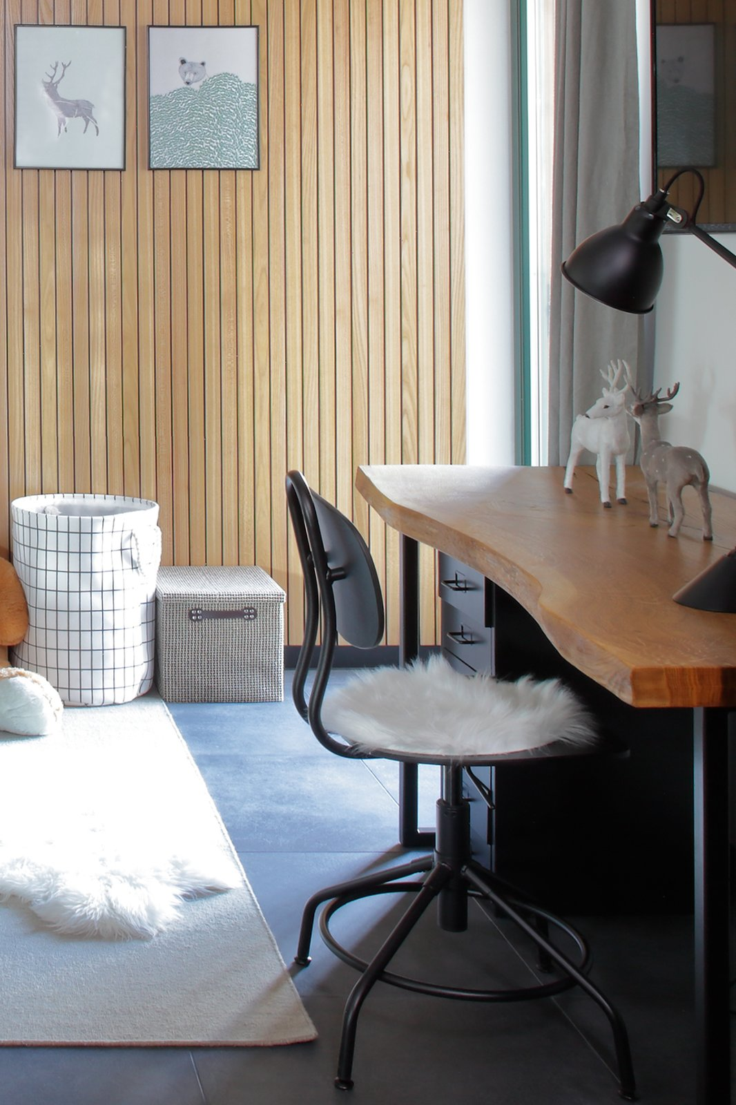 Kids Room, Bedroom Room Type, Desk, Lamps, Neutral Gender, Pre-Teen Age, and Ceramic Tile Floor  Mountain Apartment in Ore Mountain, Czech Republic by Martina Schultes www.martinaschultes.com