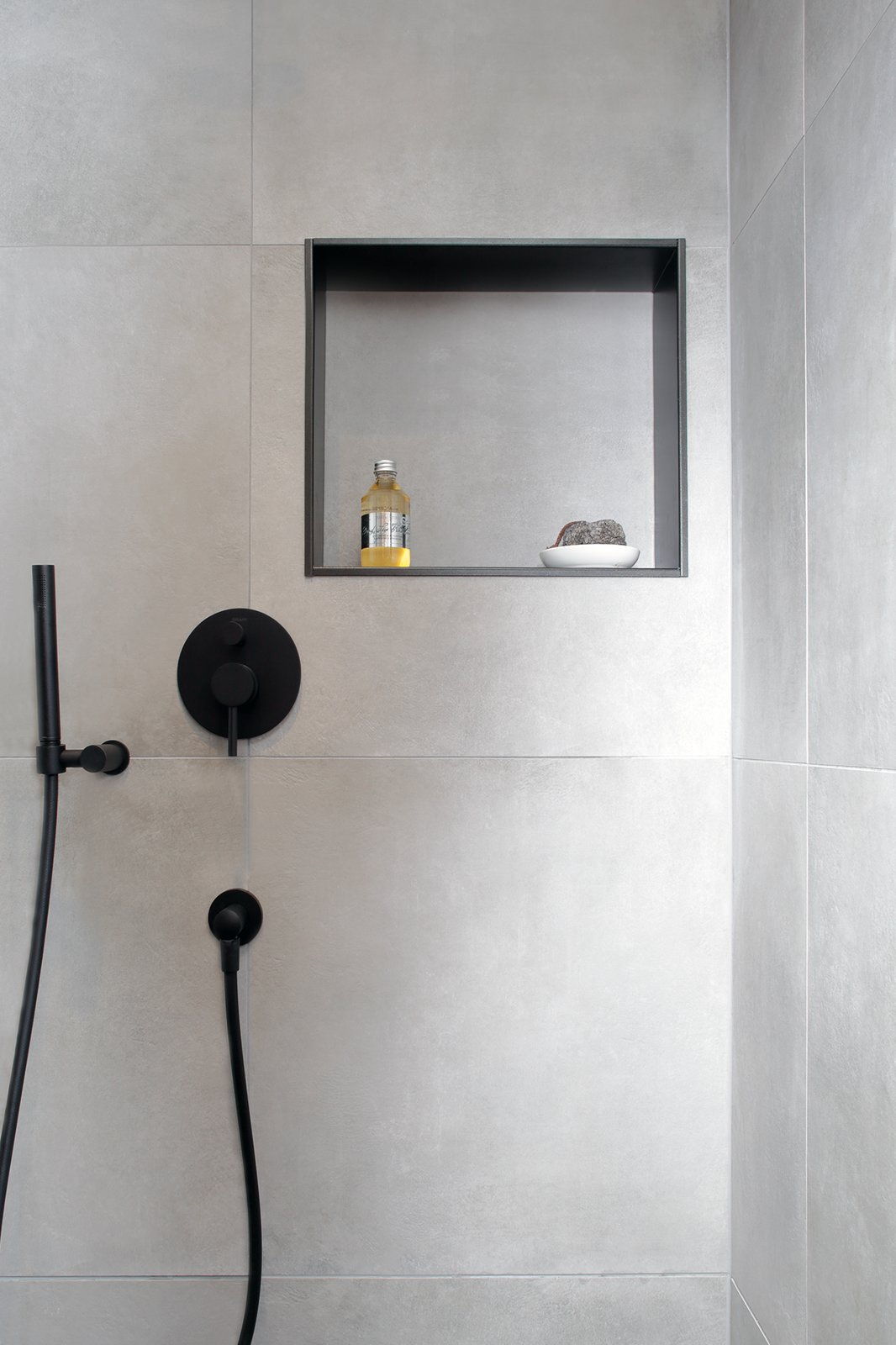 Bath Room, Full Shower, and Ceramic Tile Wall  Mountain Apartment in Ore Mountain, Czech Republic by Martina Schultes www.martinaschultes.com