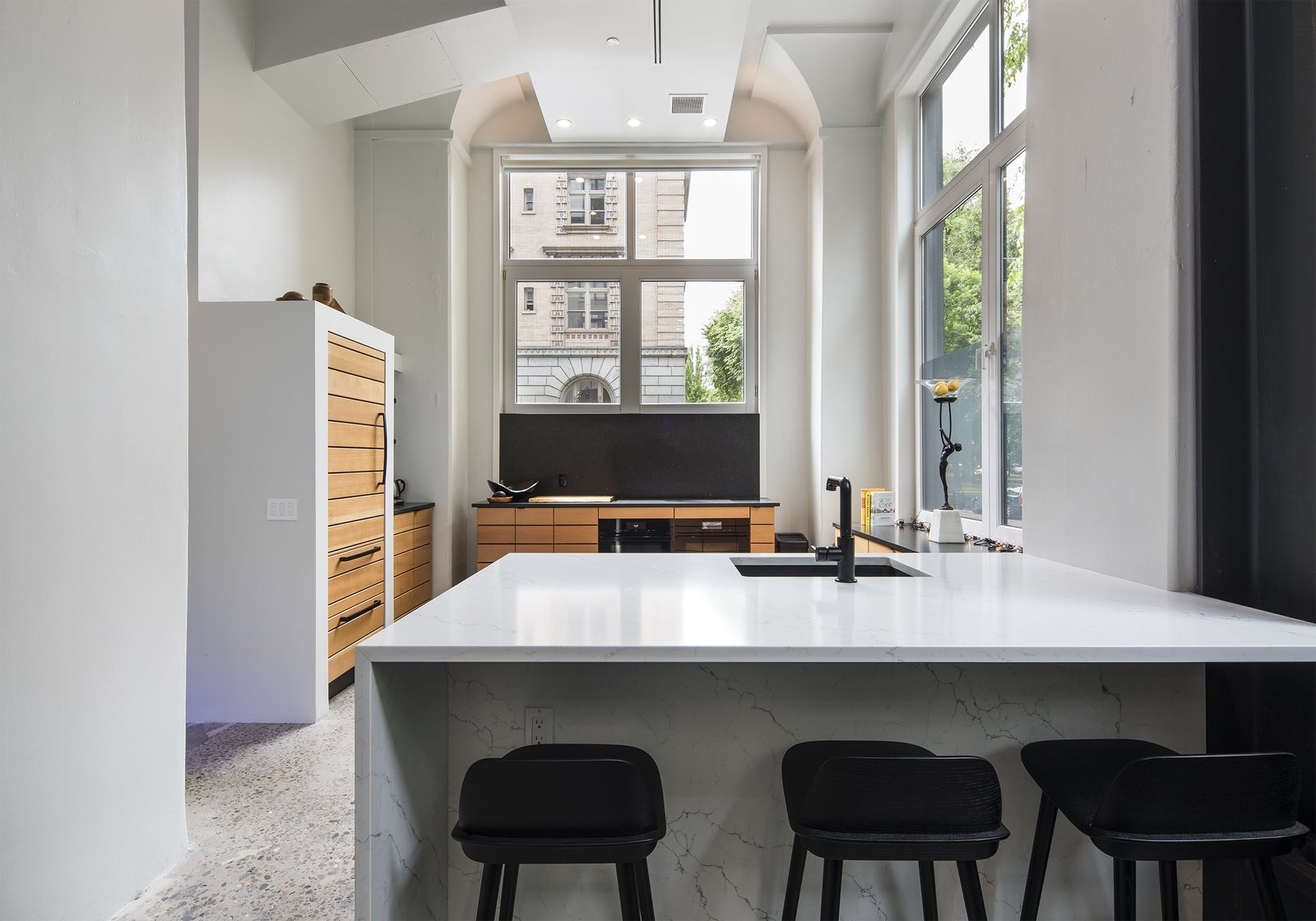 Kitchen, Engineered Quartz, Recessed, Refrigerator, Wood, Wall Oven, Drop In, Concrete, and Cooktops  Best Kitchen Cooktops Recessed Wall Oven Wood Concrete Photos from Park Ave Live Work