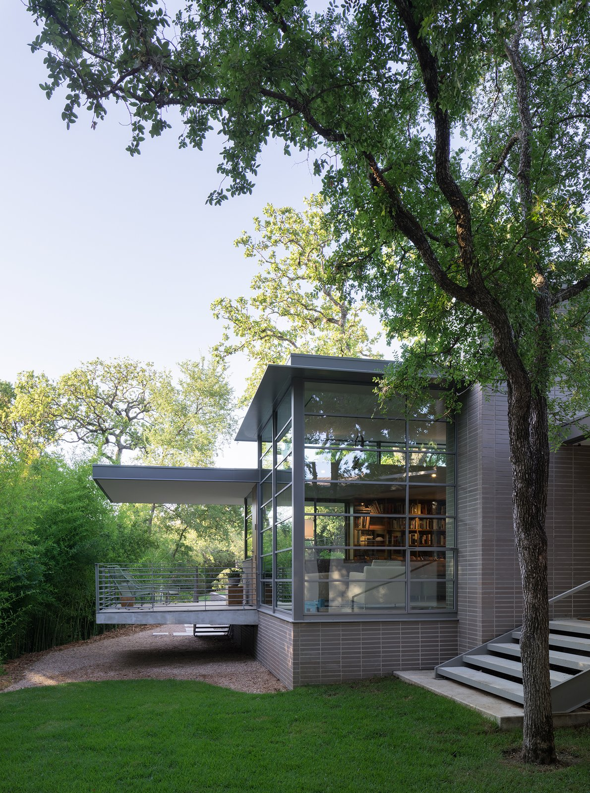 Exterior, Flat RoofLine, House Building Type, and Brick Siding Material  Inwood Place by Tim Cuppett Architects