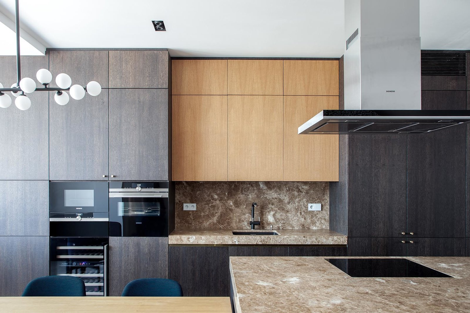 Kitchen, Marble Counter, and Wood Cabinet  Best Photos from Apartment Žitná street  Prague