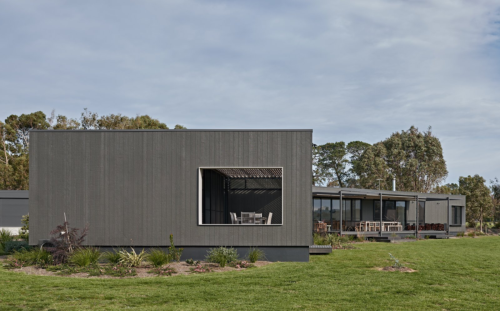 Exterior, Wood Siding Material, Metal Roof Material, Prefab Building Type, and Flat RoofLine  The Balnarring Beach House