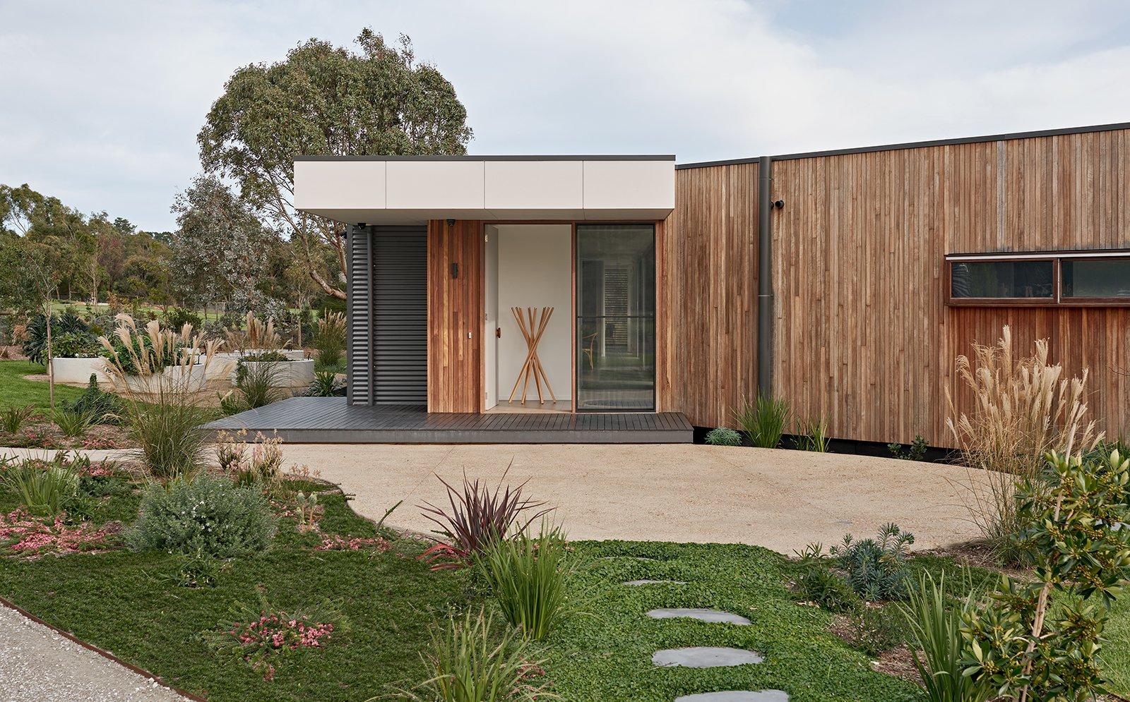 Exterior, Prefab Building Type, Flat RoofLine, Metal Siding Material, Metal Roof Material, and Wood Siding Material  The Balnarring Beach House