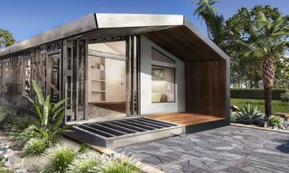 Steel Homes, a Florida–based modular home company, faces a unique problem: how to design and build a modular home that can withstand the frequent hurricanes the state sees. That's why these modular homes under $100K use light-gauge steel. The high strength-to-weight ratio maximizes building design flexibility and provides rigid structural integrity. Modular home prices in Florida are comparatively cheaper than in markets like California, New England, and D.C. At 1,010 square feet, the Tulip is Steel Homes' smallest model, with a price tag right around $80,000.