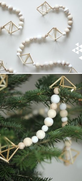 Natural wood makes a perfect choice for modern Christmas tree decorations, like the simple wooden garland seen here. Geometric shapes add a touch of visual interest to the strands of wooden beads. Pair this with your favorite modern Christmas ornaments, or let it adorn your tree by itself for the perfect minimalist look.