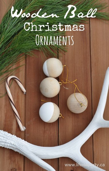 These modern Christmas ornaments, crafted in light wood and dipped in white, would pair perfectly with the modern garland shown above. Or, create a stunning display by hanging them from a black Christmas tree for a dramatic aesthetic.