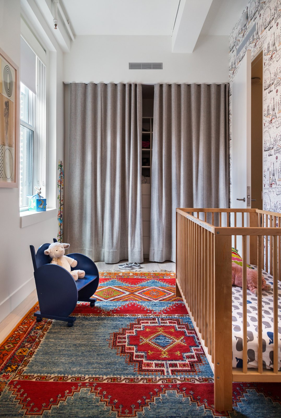 Kids, Neutral, Rockers, Medium Hardwood, Bedroom, Toddler, Bed, and Rug  Best Kids Bedroom Rug Photos from Empire State Apartment
