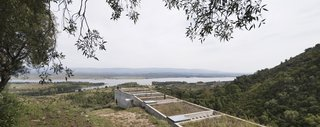 A Concrete Hillside Home With a Green Roof and Killer Views