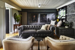 The lounge has clay plaster walls to create a simple and timeless feel.