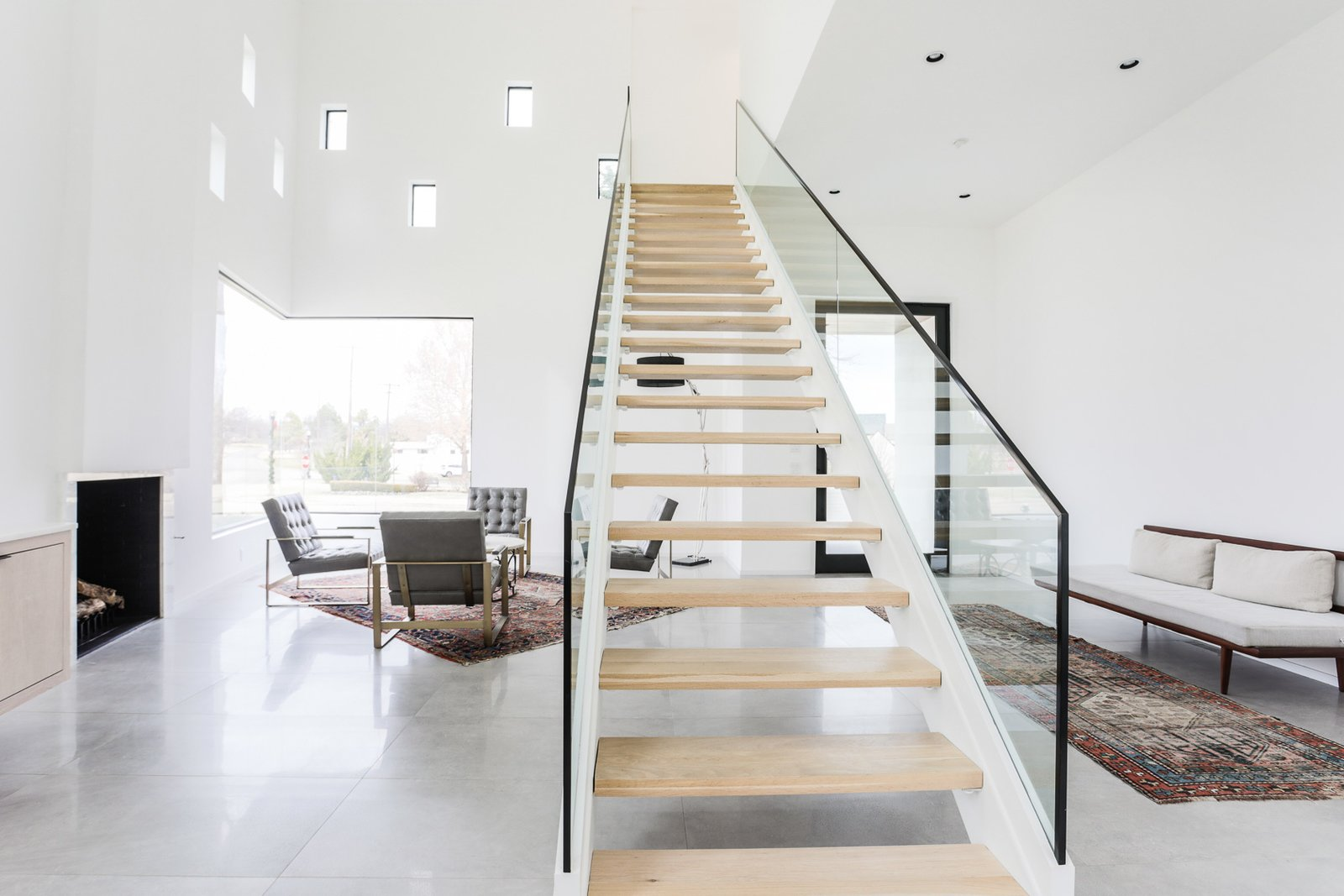 Staircase, Wood Tread, and Glass Railing  OKC Modern by Emily  Hart
