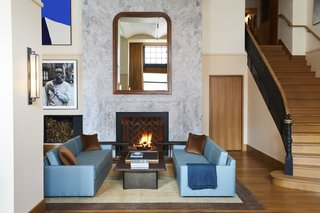 A fireplace instills the Shinola Hotel with a sense of coziness and intimacy amid a high-energy atmosphere.