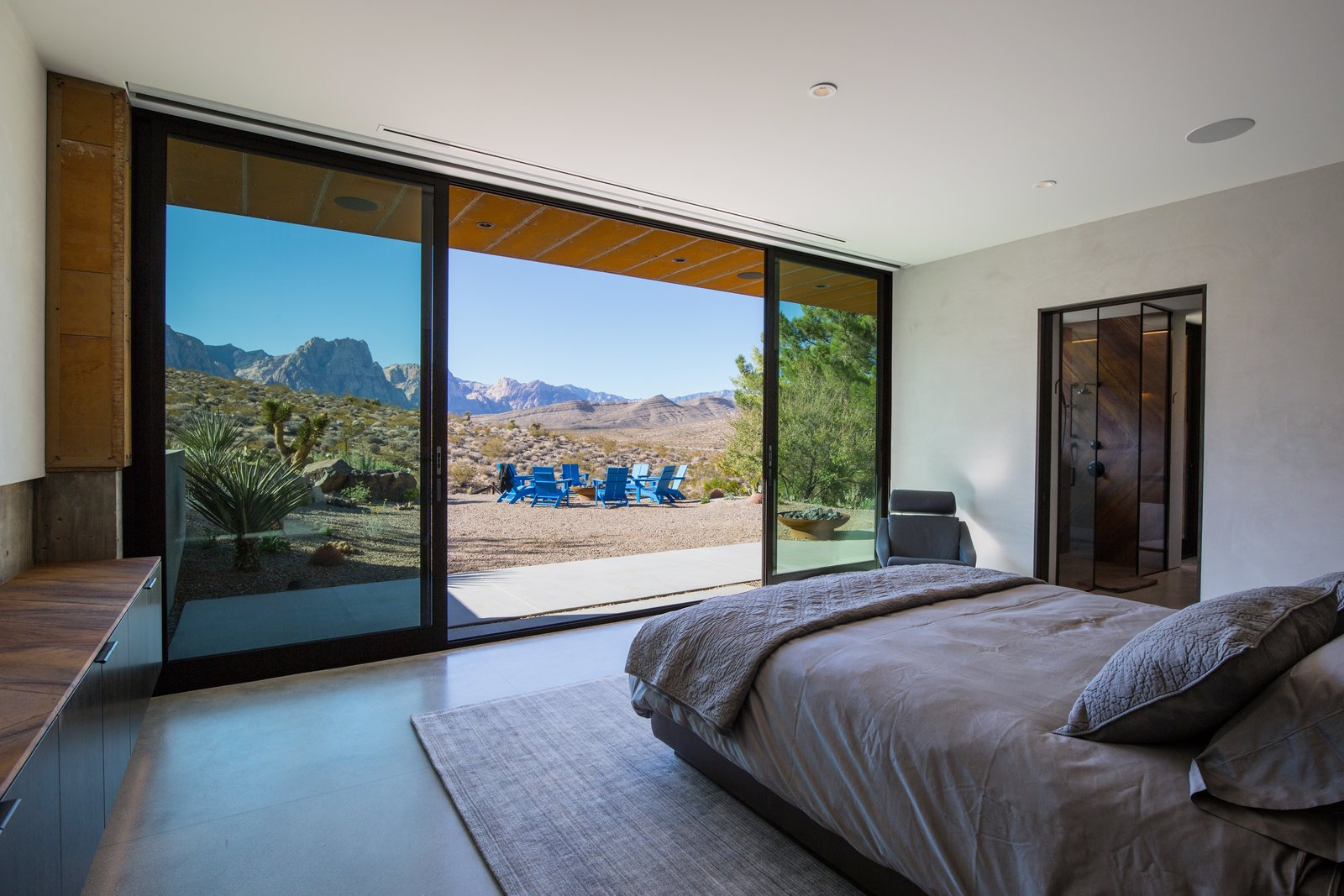 Bedroom, Ceiling Lighting, Concrete Floor, Storage, Night Stands, and Bed  minMAX by Punch Architecture