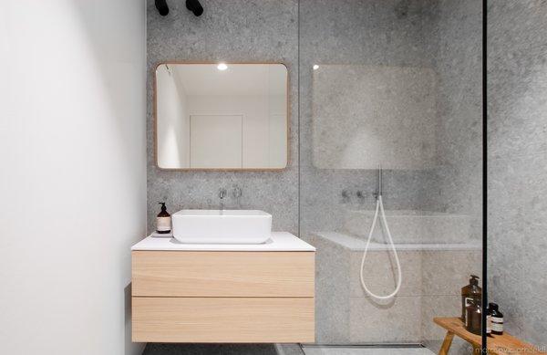 Bath Room, Wall Lighting, Pedestal Sink, Open Shower, Undermount Tub, Laminate Counter, Ceramic Tile Floor, and Terrazzo Floor  Apartment M8