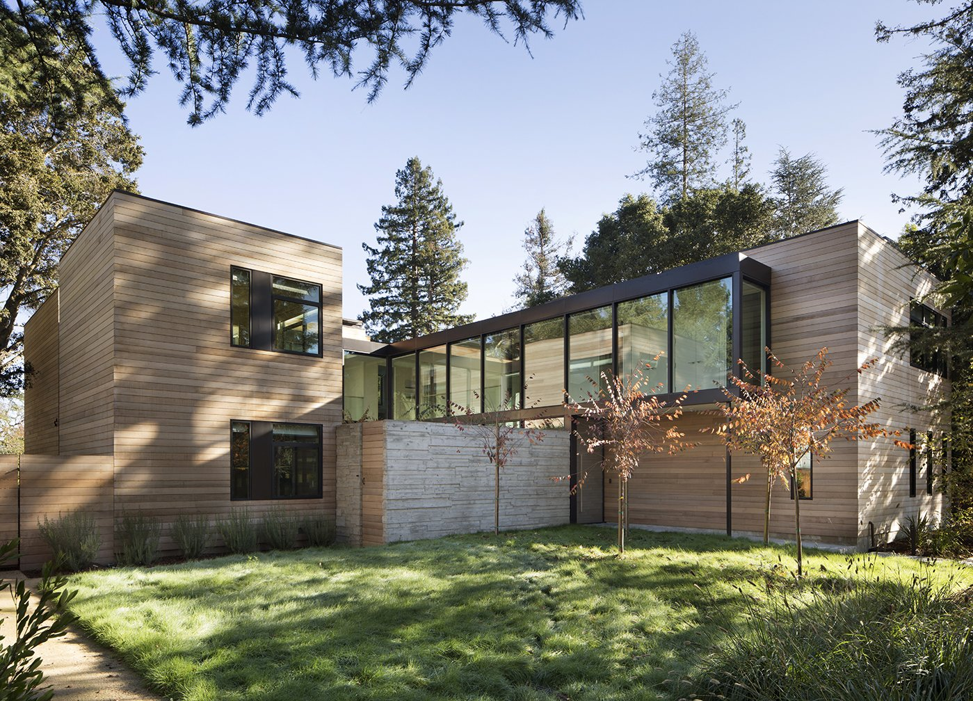 Exterior, House Building Type, Wood Siding Material, and Flat RoofLine  Photo 1 of 8 in Four Pavilions Balance Privacy and Togetherness in This Silicon Valley Abode
