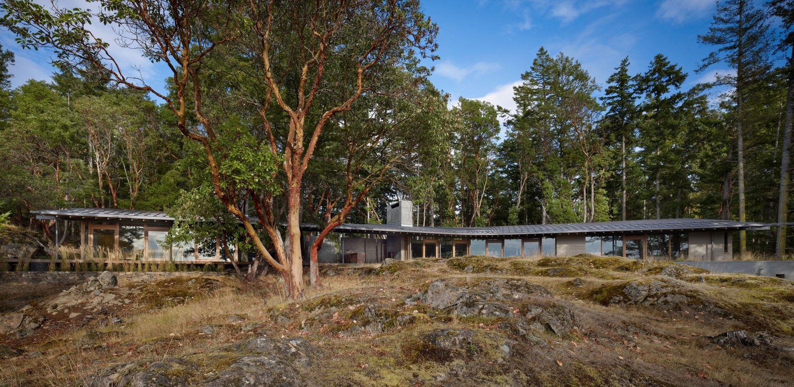 Exterior, Curved RoofLine, Cabin Building Type, Shed RoofLine, House Building Type, Wood Siding Material, Concrete Siding Material, and Metal Roof Material  Suncrest Residence by Heliotrope Architects