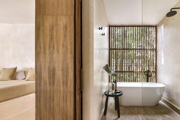 Best 9 Modern Bathroom Travertine Floors Open Showers Design Photos Dwell