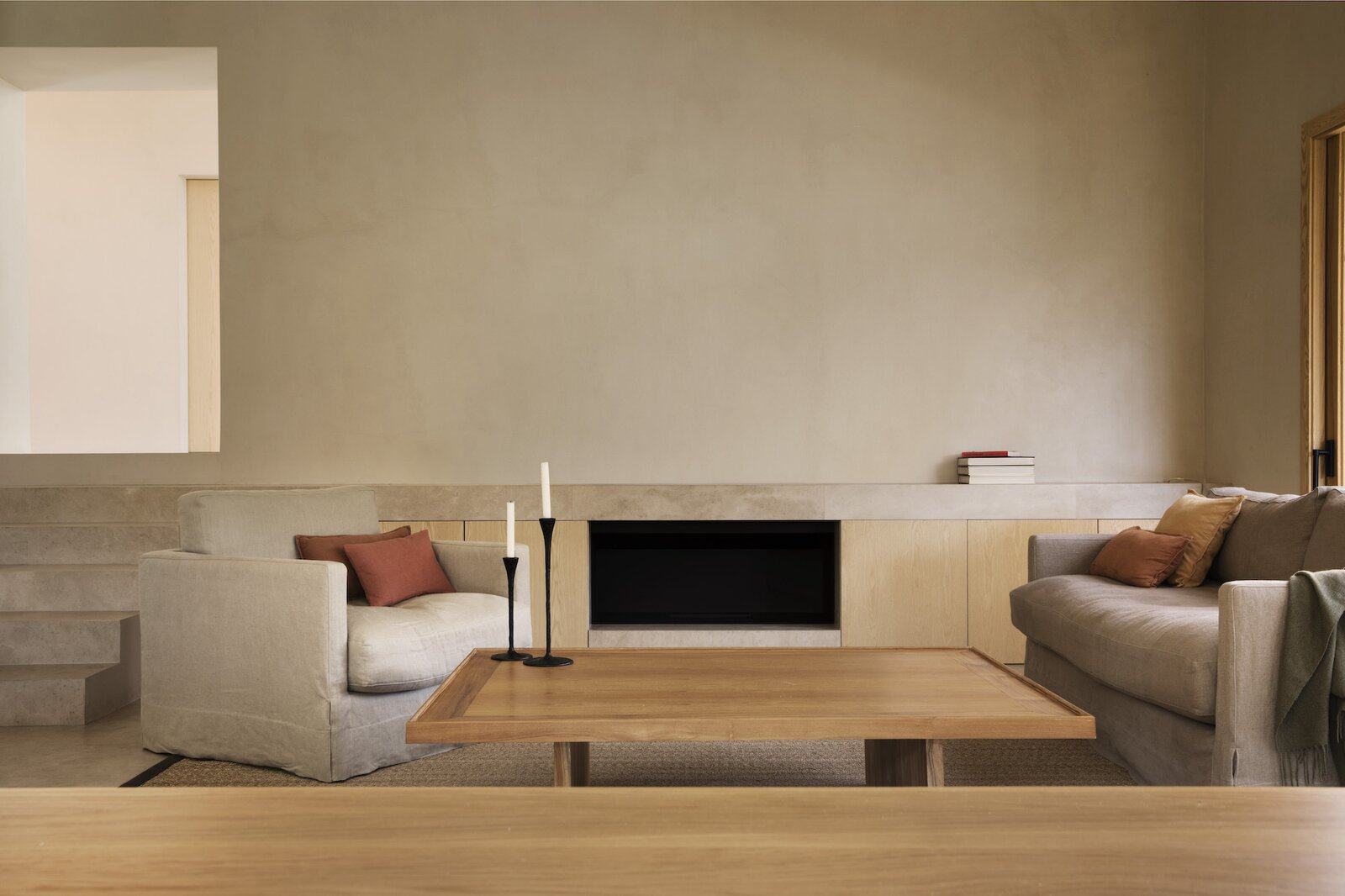 Living, Coffee Tables, Chair, Sofa, Rug, and Standard Layout  Dwell's Favorite Living Photos from A Dreamy, Minimalist Retreat in Spain Opens to Its Lush Surroundings