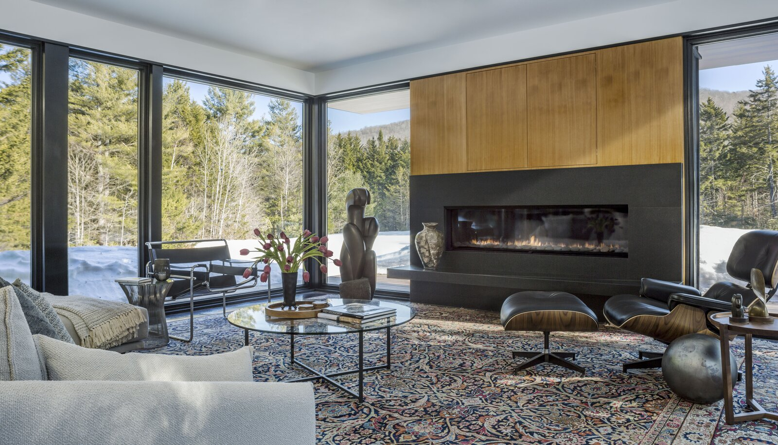 Living Room, Gas Burning Fireplace, Concrete Floor, Coffee Tables, Sofa, and Chair  Board & Batten by Birdseye