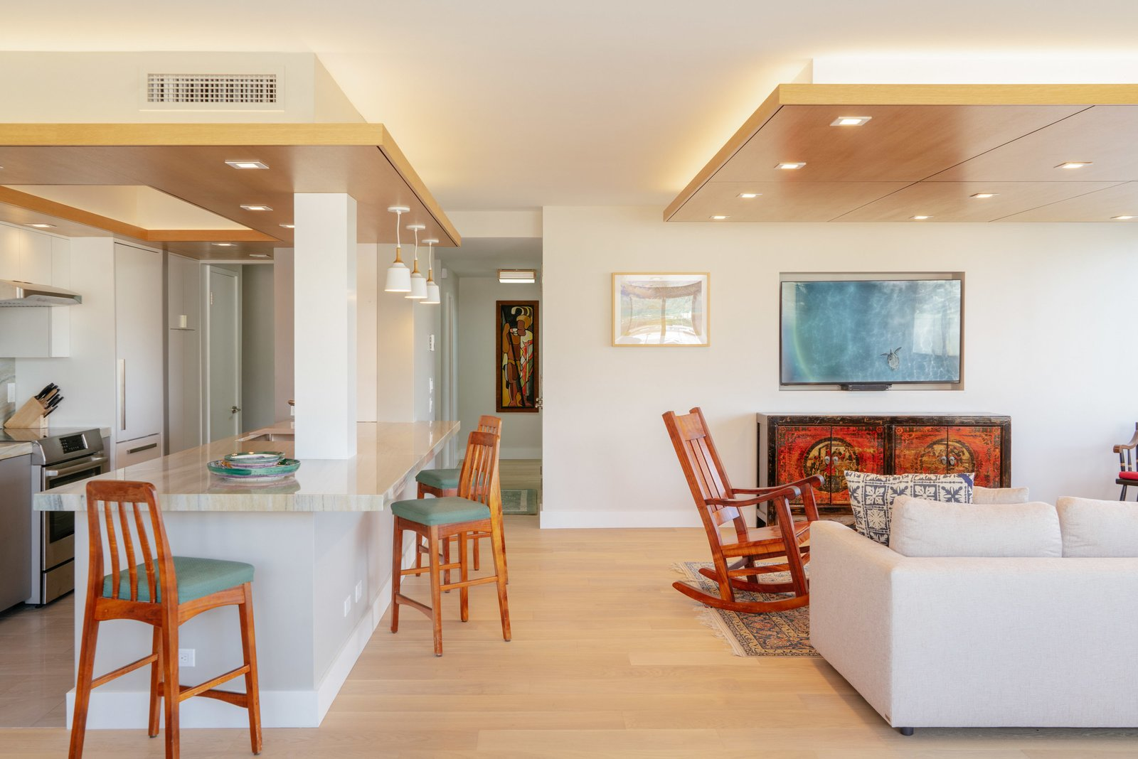 Living Room, Light Hardwood Floor, Ceiling Lighting, Accent Lighting, and Recessed Lighting  Scott Residence by District Architecture + Design