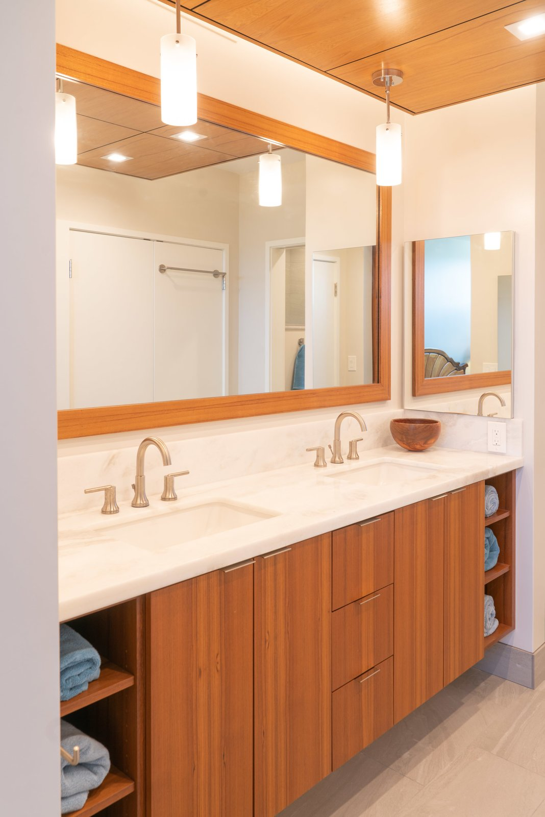 Bath Room, Accent Lighting, Pendant Lighting, Undermount Sink, Granite Counter, Recessed Lighting, Ceiling Lighting, Open Shower, and Ceramic Tile Floor  Scott Residence by District Architecture + Design