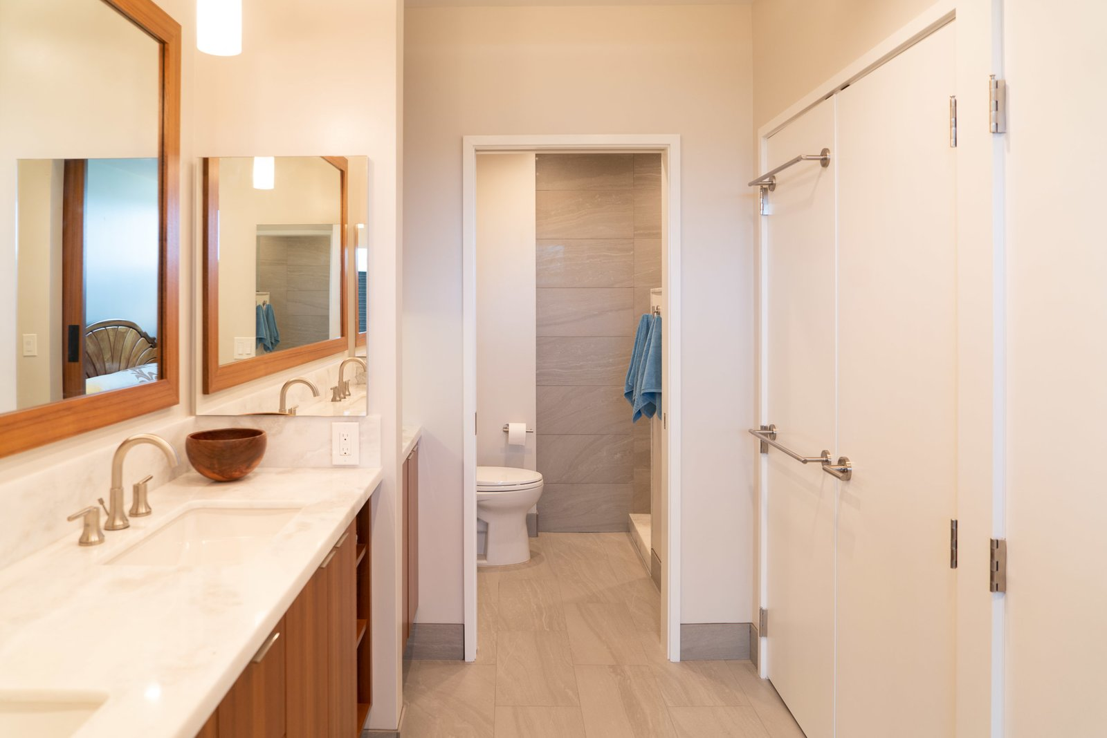 Bath Room, Granite Counter, Ceramic Tile Floor, Recessed Lighting, Accent Lighting, Ceiling Lighting, Pendant Lighting, Undermount Sink, and Open Shower  Scott Residence by District Architecture + Design