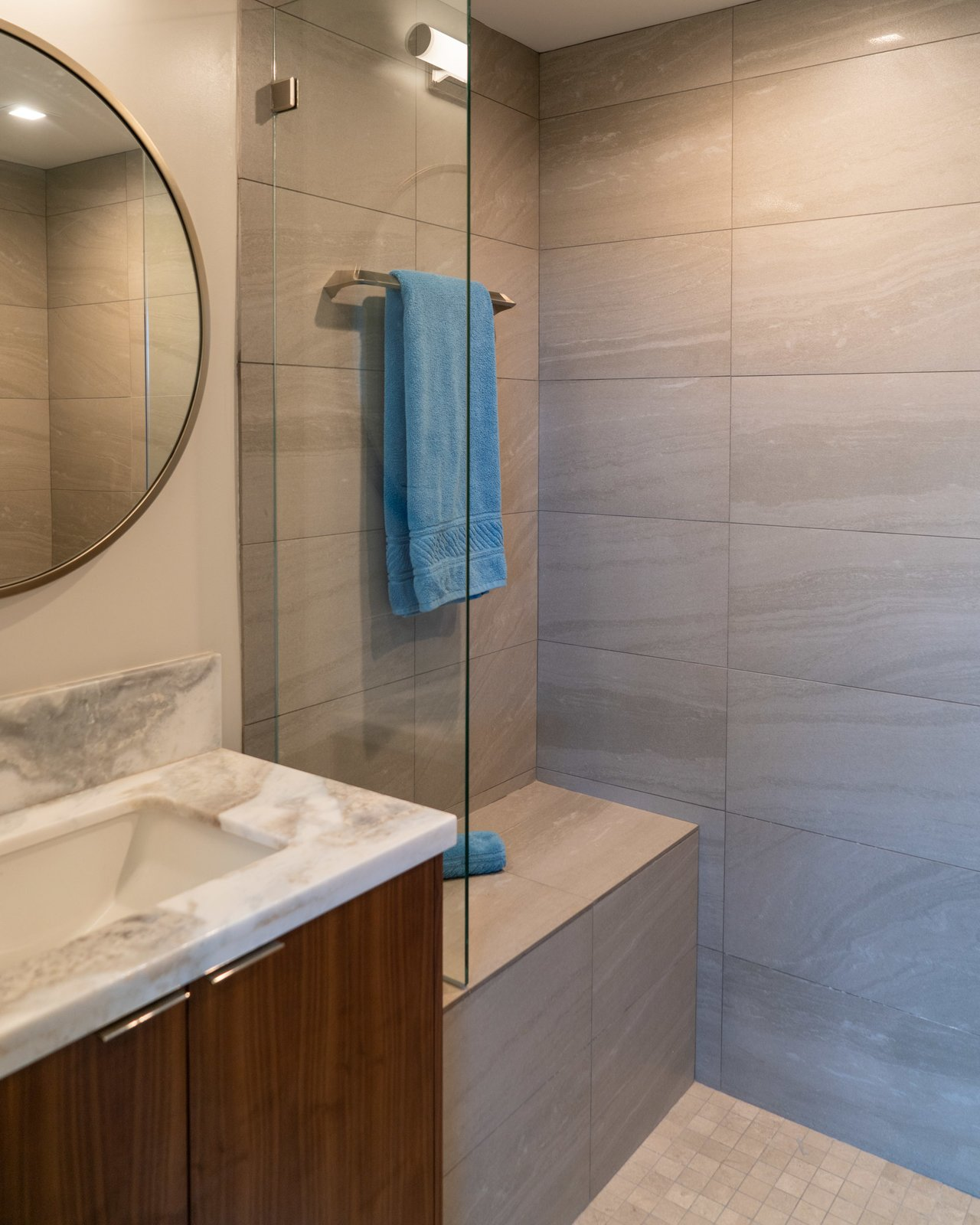 Bath Room, Granite Counter, Recessed Lighting, Undermount Sink, Ceramic Tile Wall, Ceramic Tile Floor, and Open Shower  Scott Residence by District Architecture + Design