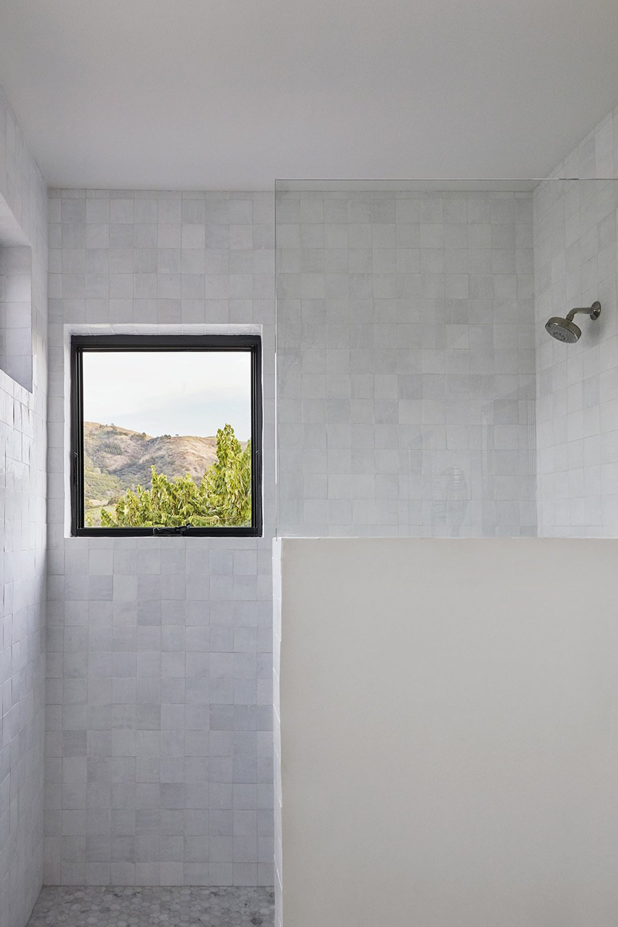 Bath Room, Open Shower, Marble Counter, and Ceramic Tile Wall  Shepard Mesa House