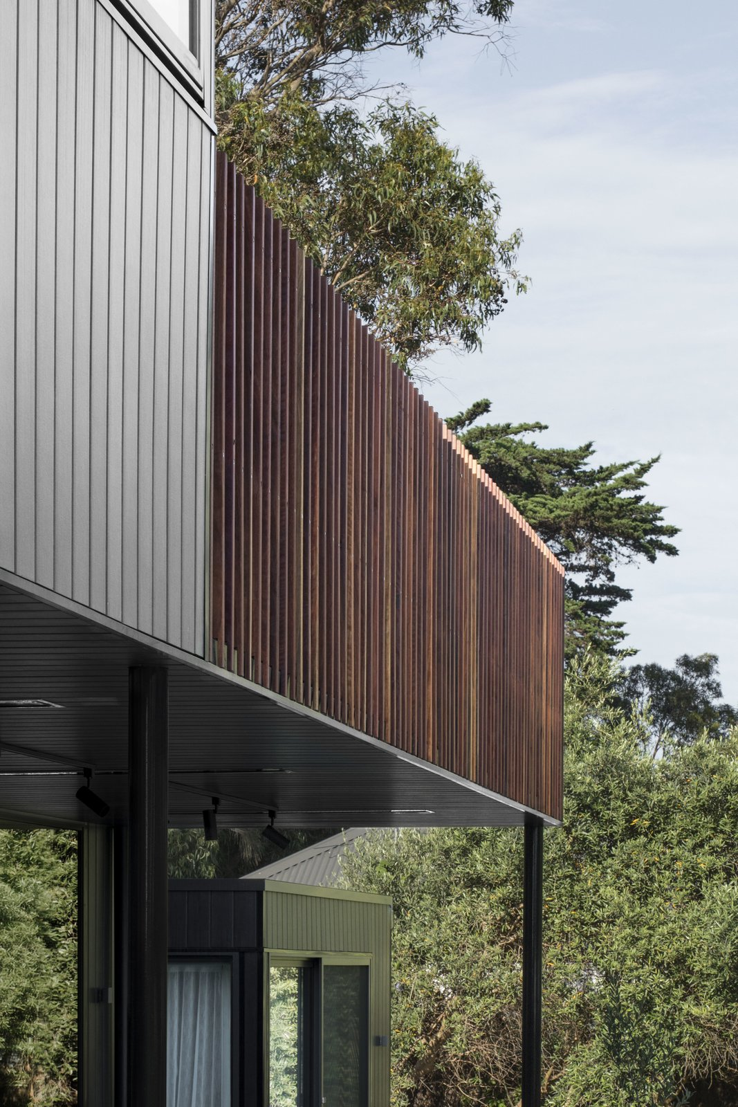 Exterior, Wood Siding Material, Flat RoofLine, House Building Type, and Metal Roof Material  Photos from Warraweena