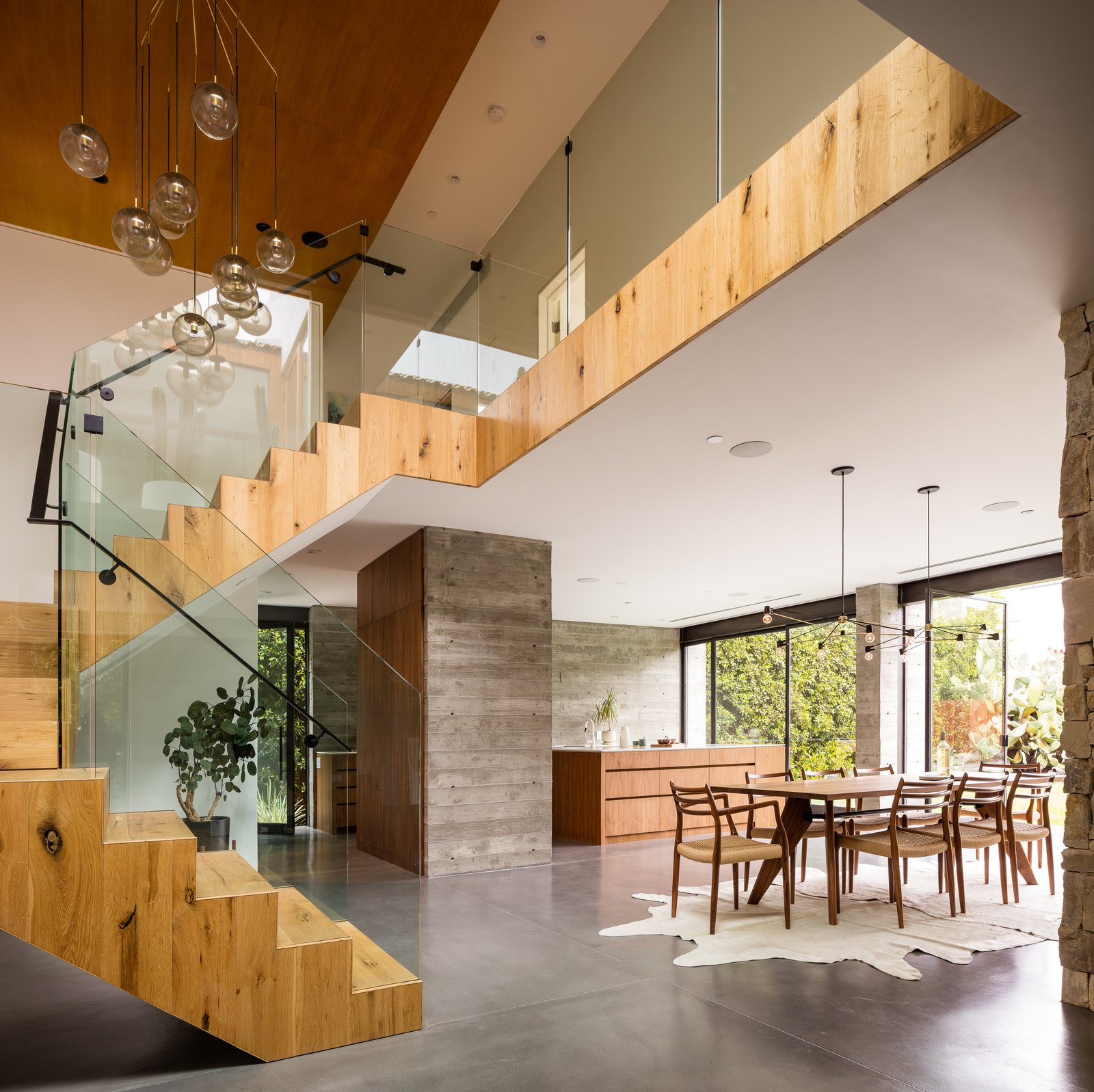 Staircase, Metal Railing, Wood Tread, and Glass Railing  Hedge House x Boswell by Boswell