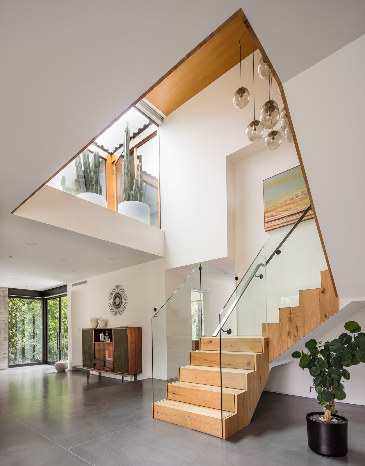 Staircase, Metal Railing, Glass Railing, and Wood Tread  Photos from Hedge House x Boswell