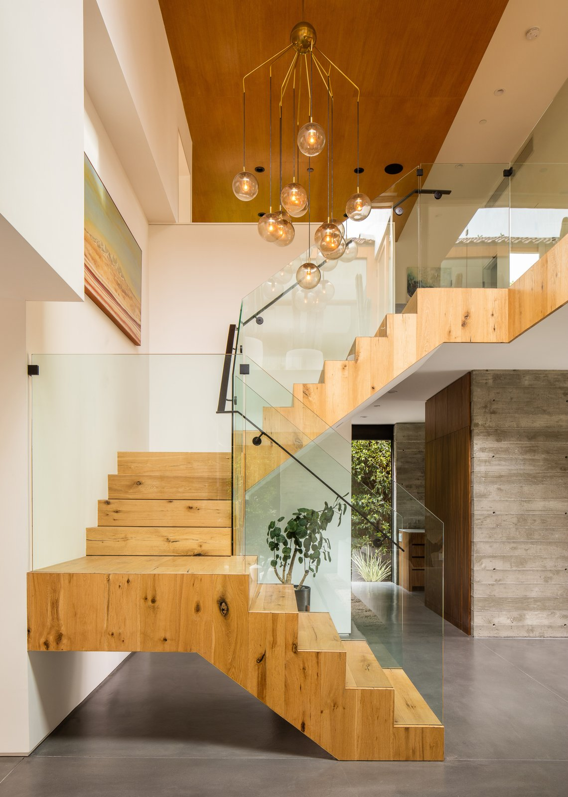 Staircase, Wood Tread, Glass Railing, and Metal Railing  Photos from Hedge House x Boswell