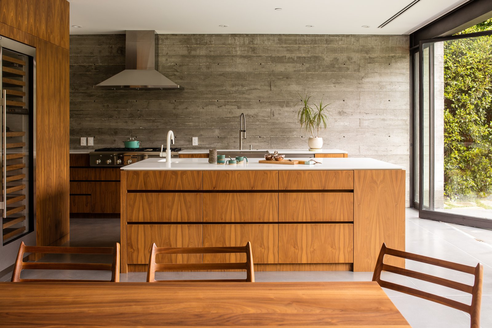 Kitchen, Wood, Concrete, Range, Refrigerator, Cooktops, Range Hood, Recessed, Concrete, Beverage Center, and Wood  Kitchen Recessed Concrete Range Photos from Hedge House x Boswell