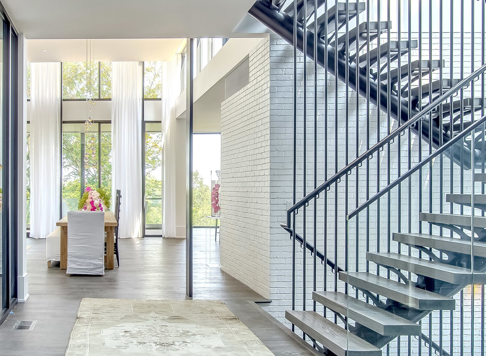 Staircase, Metal Railing, and Metal Tread  Modern View