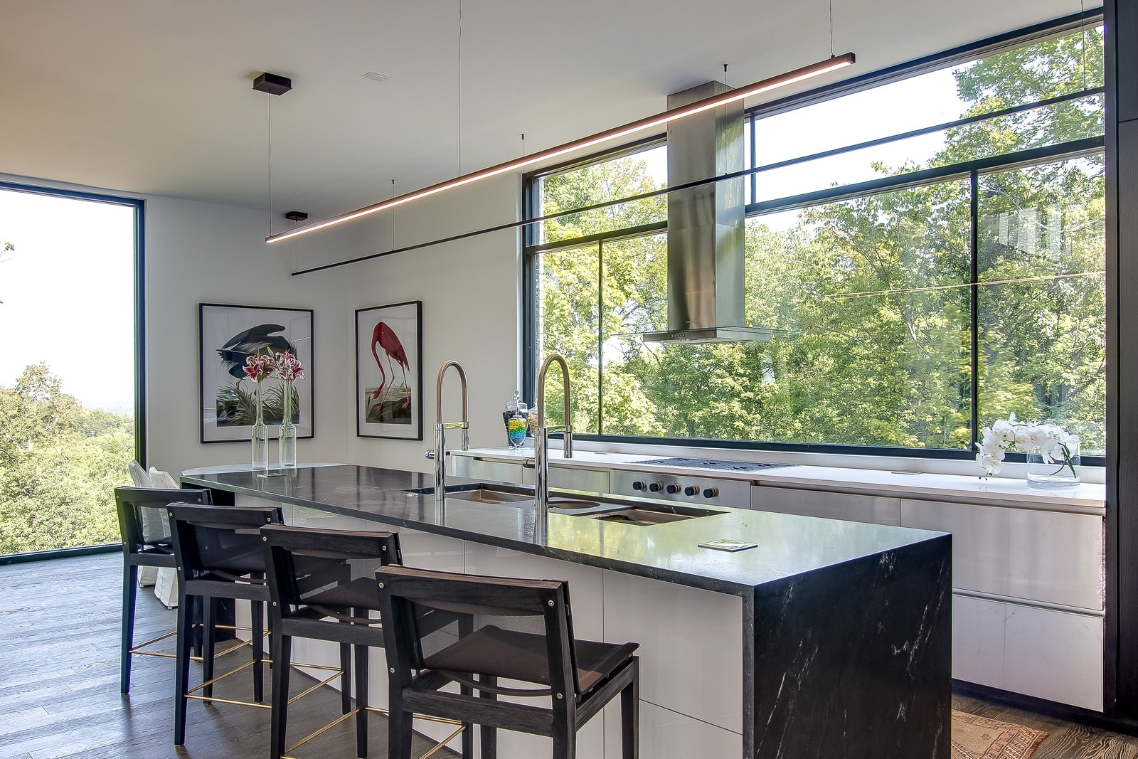 Kitchen, Marble Counter, Dark Hardwood Floor, Undermount Sink, Pendant Lighting, Metal Cabinet, Range Hood, and Cooktops  Modern View