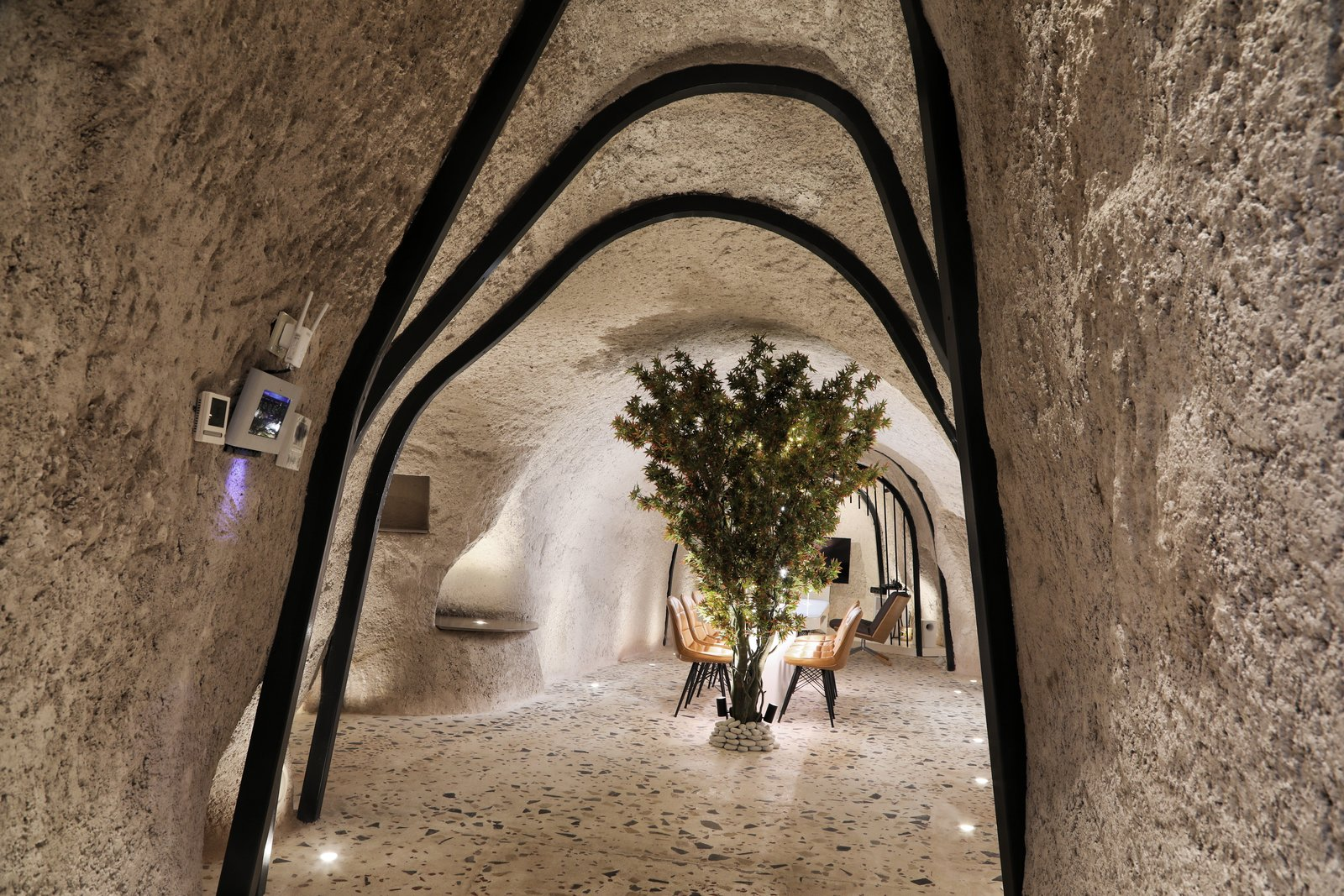 Hallway and Terrazzo Floor  Photo 11 of 13 in A Primal Space Gets a Swanky, Modern Twist in This Turkish Cave Loft