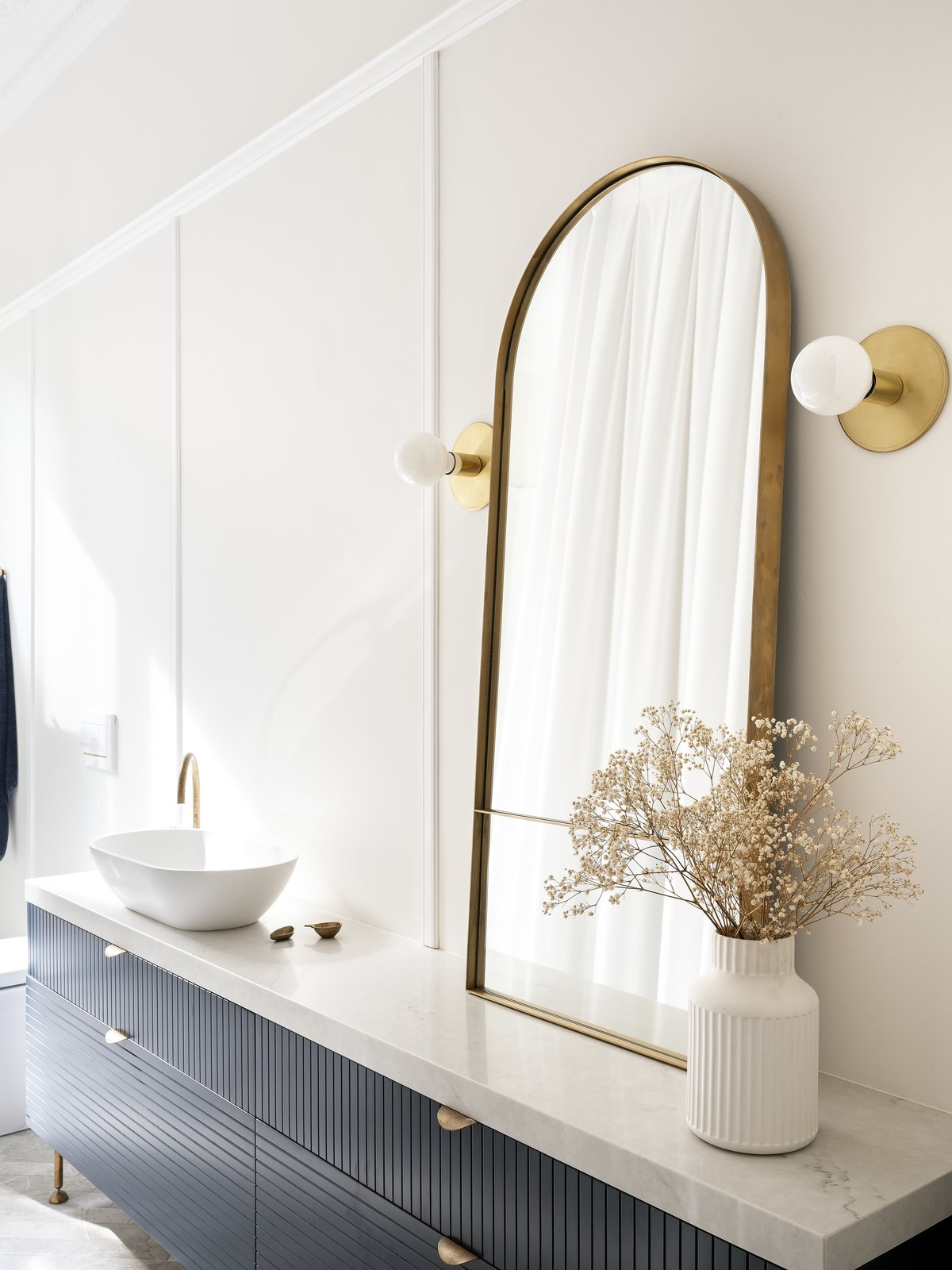 Bath, Marble, Accent, Wall, One Piece, and Vessel  Bath Vessel Accent One Piece Photos from Black Pivot Doors Frame Views of This Australian Home's Verdant Garden
