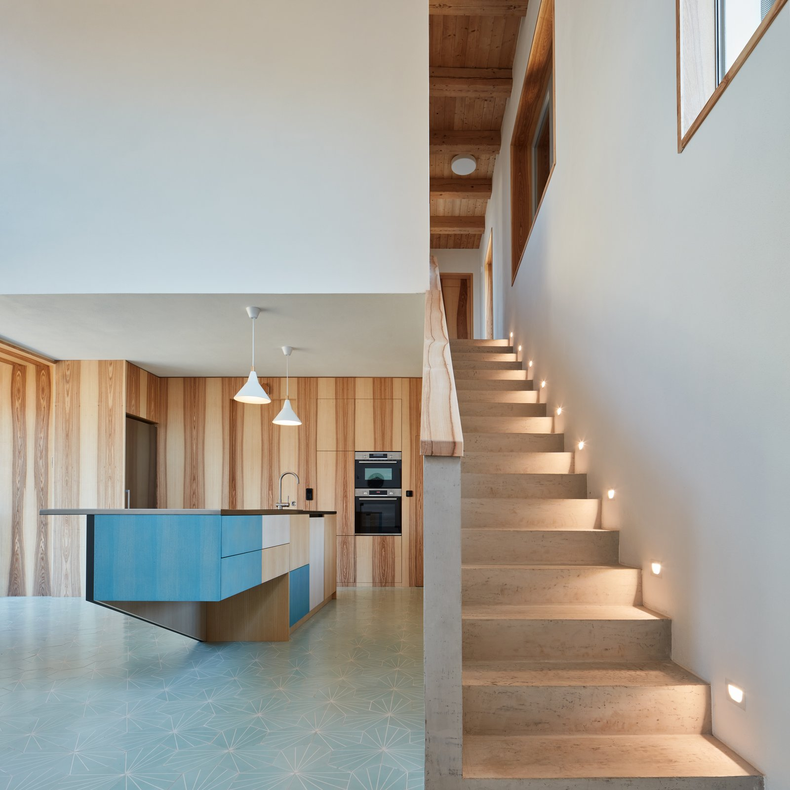 Staircase, Wood Railing, and Wood Tread  Photo 9 of 23 in Romantic Ruins Enclose a Modern House in the Czech Republic