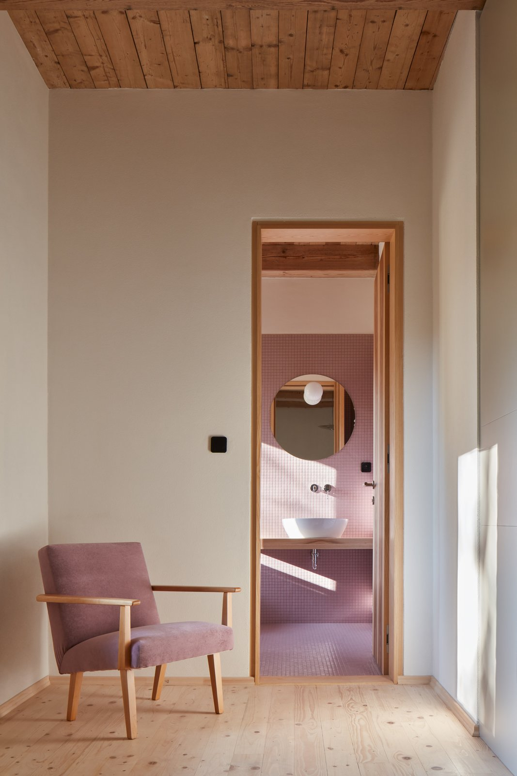 Hallway and Light Hardwood Floor  Photo 10 of 23 in Romantic Ruins Enclose a Modern House in the Czech Republic
