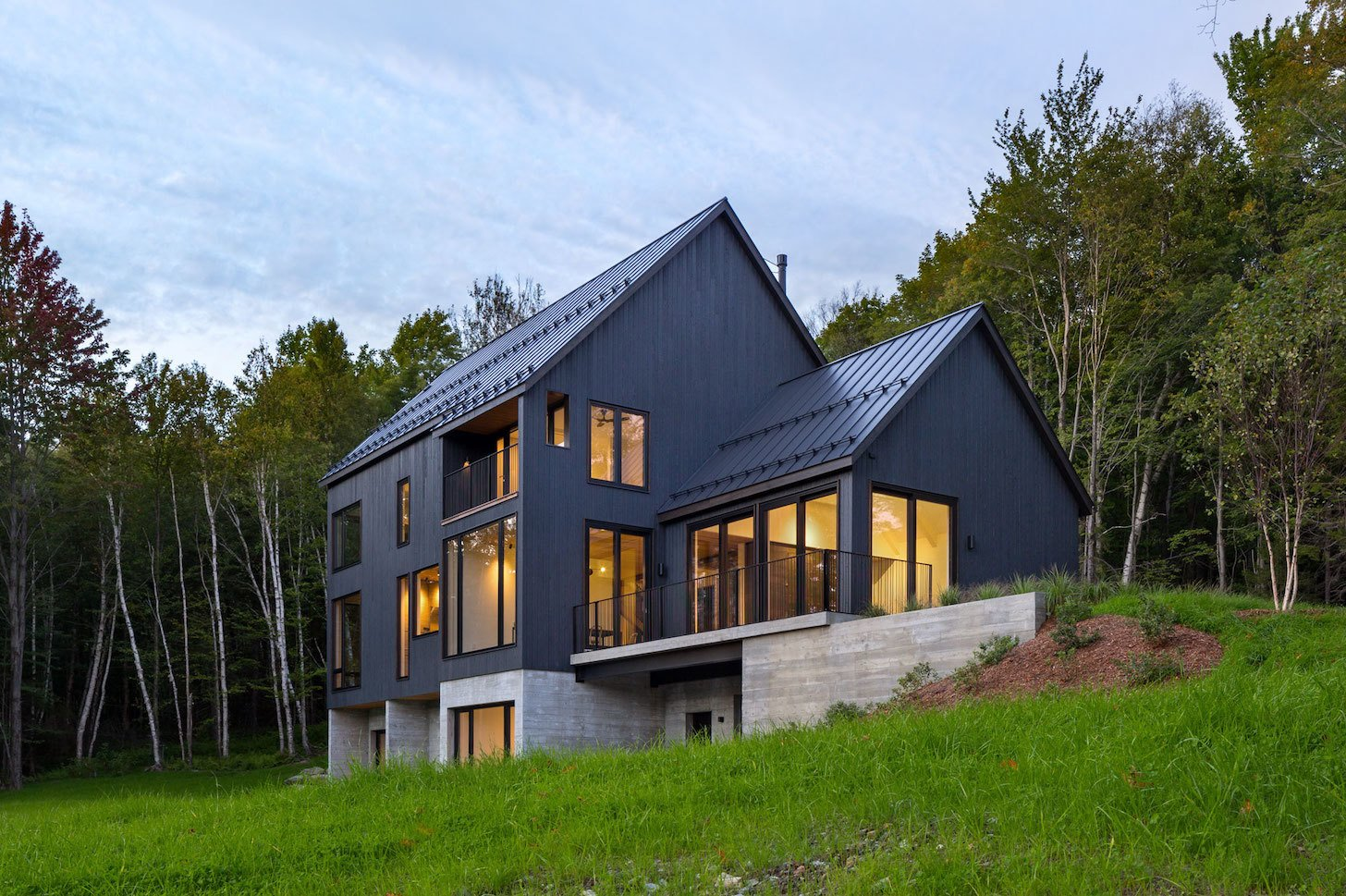 Exterior, Gable RoofLine, House Building Type, Wood Siding Material, Concrete Siding Material, and Metal Roof Material  Elemental House by Elizabeth Herrmann Architecture + Design