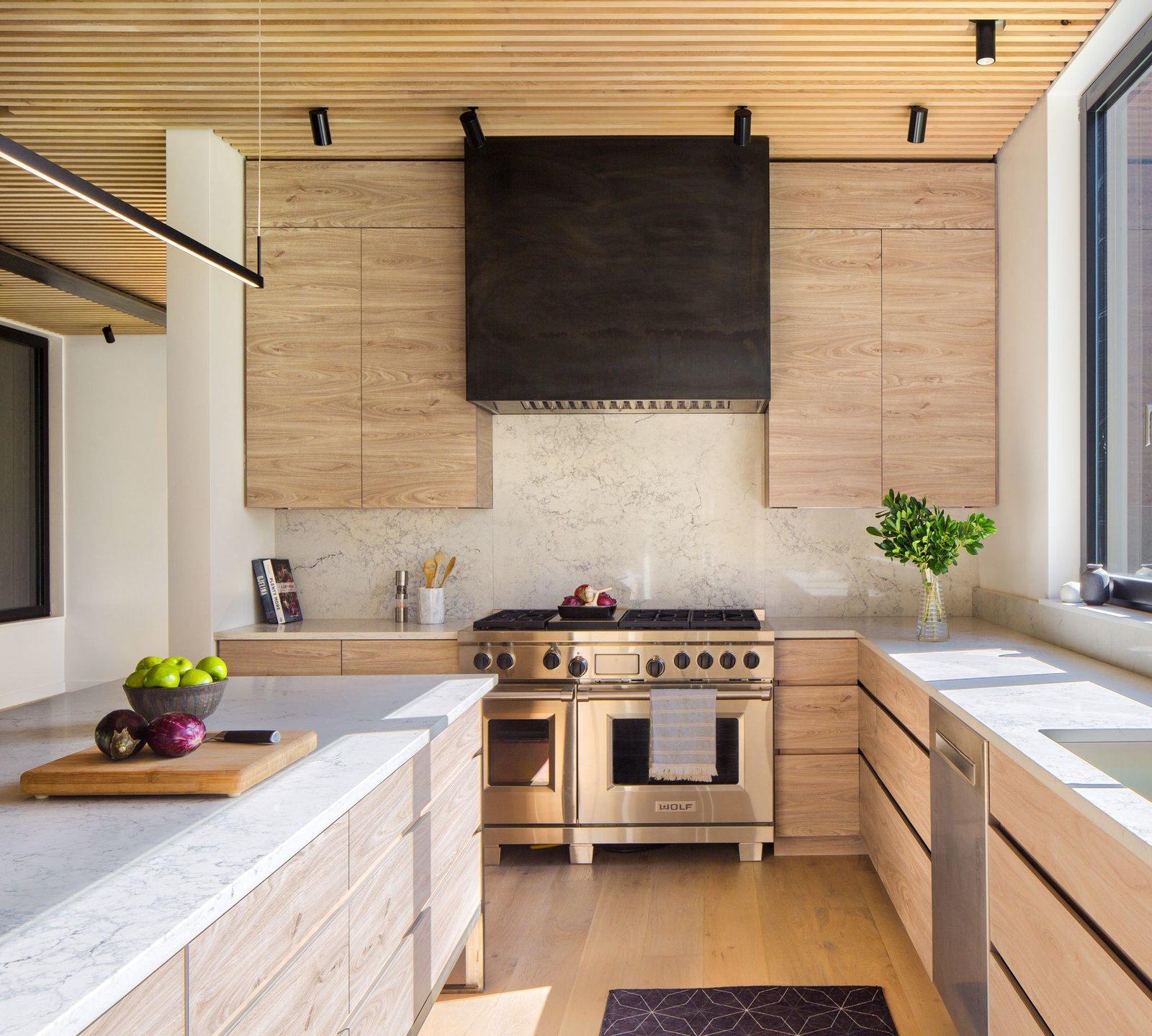 Kitchen, Quartzite Counter, Undermount Sink, Range Hood, Track Lighting, Wood Cabinet, Medium Hardwood Floor, Light Hardwood Floor, and Range  Elemental House by Elizabeth Herrmann Architecture + Design