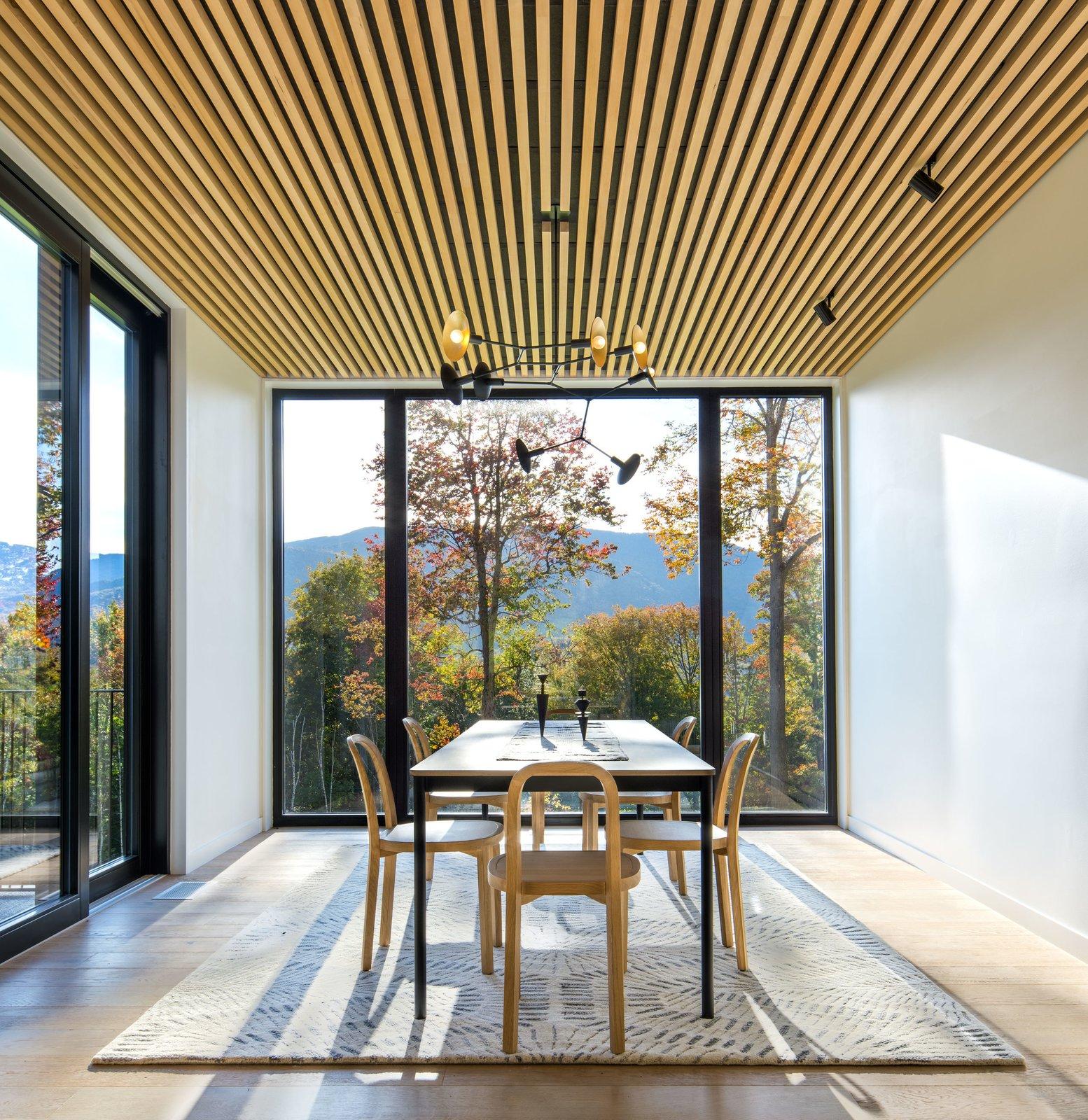 Dining Room, Light Hardwood Floor, Chair, Track Lighting, Ceiling Lighting, Medium Hardwood Floor, and Table  Elemental House by Elizabeth Herrmann Architecture + Design
