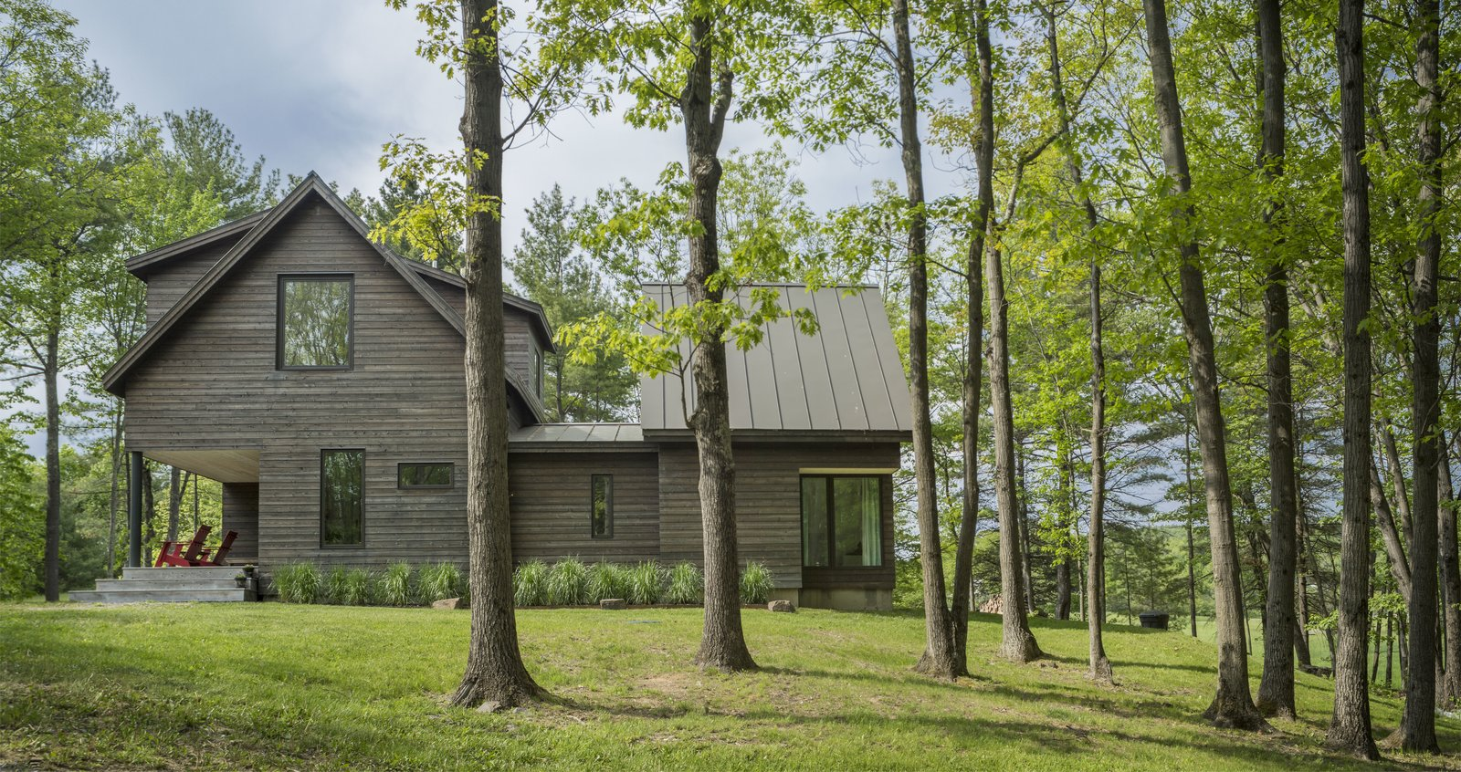 Exterior, Metal Roof Material, House Building Type, Gable RoofLine, and Wood Siding Material  Knoll House by Elizabeth Herrmann Architecture + Design