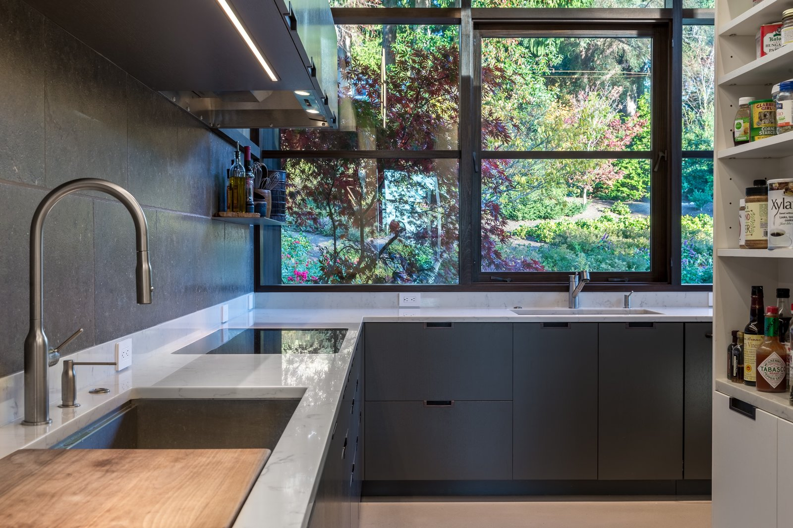 Kitchen, Quartzite, Range, Open, Stone Slab, Concrete, Metal, Drop In, and Recessed  Kitchen Concrete Metal Quartzite Photos from Kayak Point