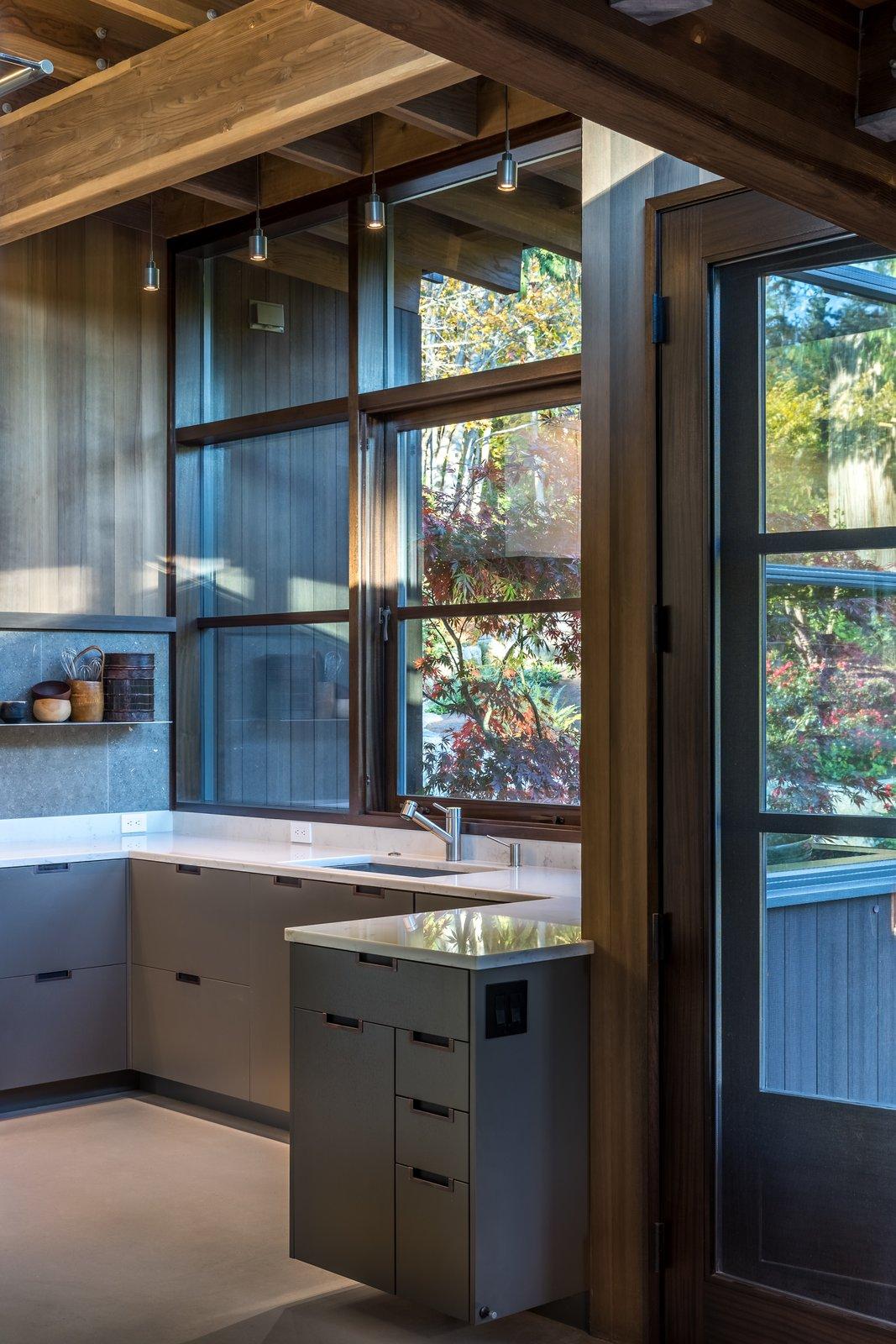 Kitchen, Engineered Quartz, Concrete, Stone Slab, Ceiling, Metal, Drop In, and Concrete  Kitchen Concrete Metal Photos from Kayak Point