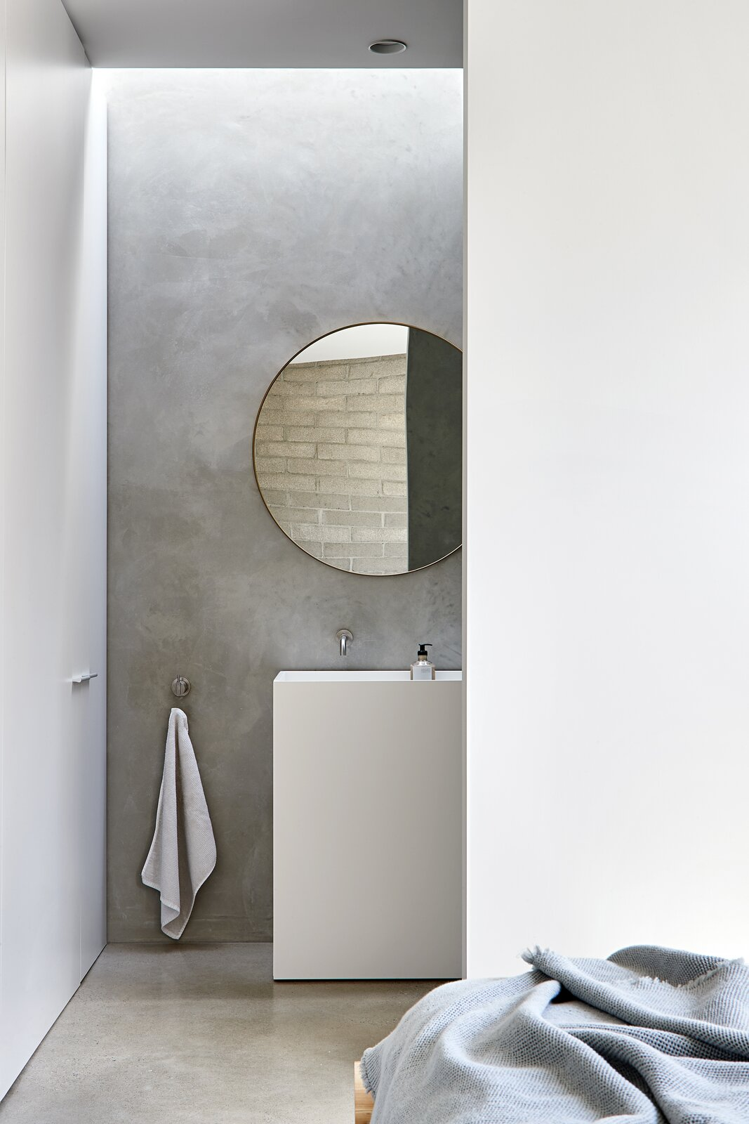 Bath Room, Drop In Sink, Recessed Lighting, Concrete Floor, and Concrete Wall  Photo 10 of 20 in A Concrete House Is Softened by an Airy Internal Courtyard, Complete With an Olive Grove from Ruxton Rise Residence