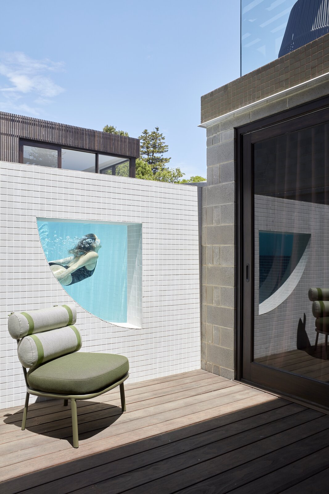 Outdoor, Small Patio, Porch, Deck, Decking Patio, Porch, Deck, Wood Patio, Porch, Deck, and Swimming Pools, Tubs, Shower  Photo 6 of 23 in Mechanized Shutters Protect This Australian Home From Prying Eyes from Shutter House