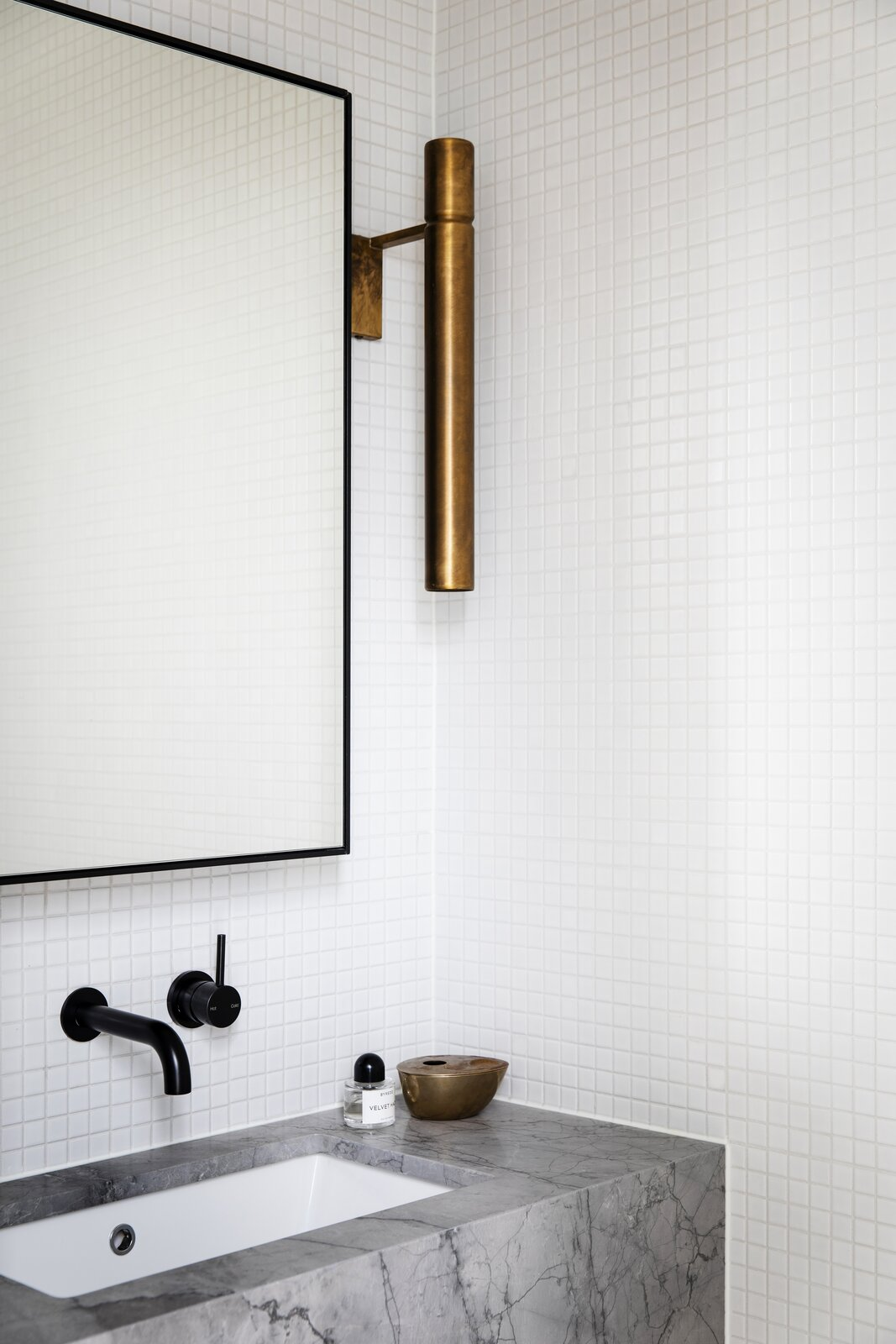 Cnr Virginia by Studio Prineas white mosaic tile bathroom